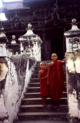 Young monks on stairs