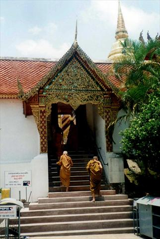 Monks entering the temple