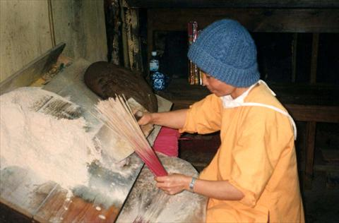 Incense stick production