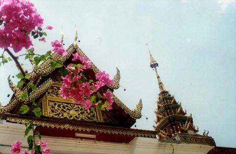 Temple roof with flowers